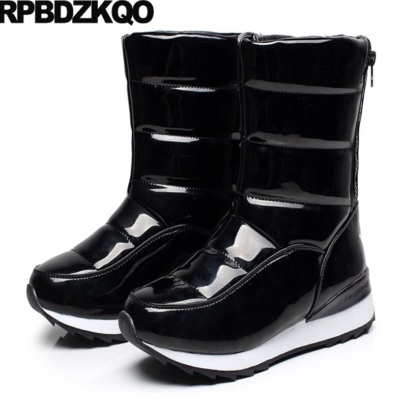 Size 41 Flat Mid Calf Cheap Black Shoes Round Toe Patent Leather Waterproof Snow Boots Women Chinese Fashion Female 2017 New