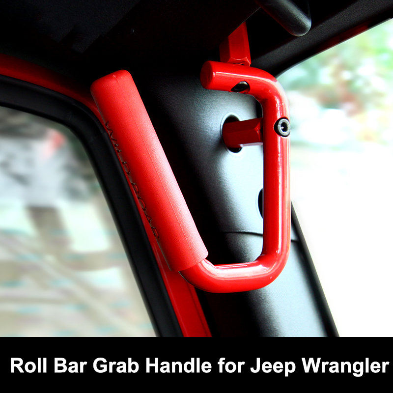 buy new red roll bar grab handles for jeep wrangler jk grabbars handle solid. Black Bedroom Furniture Sets. Home Design Ideas