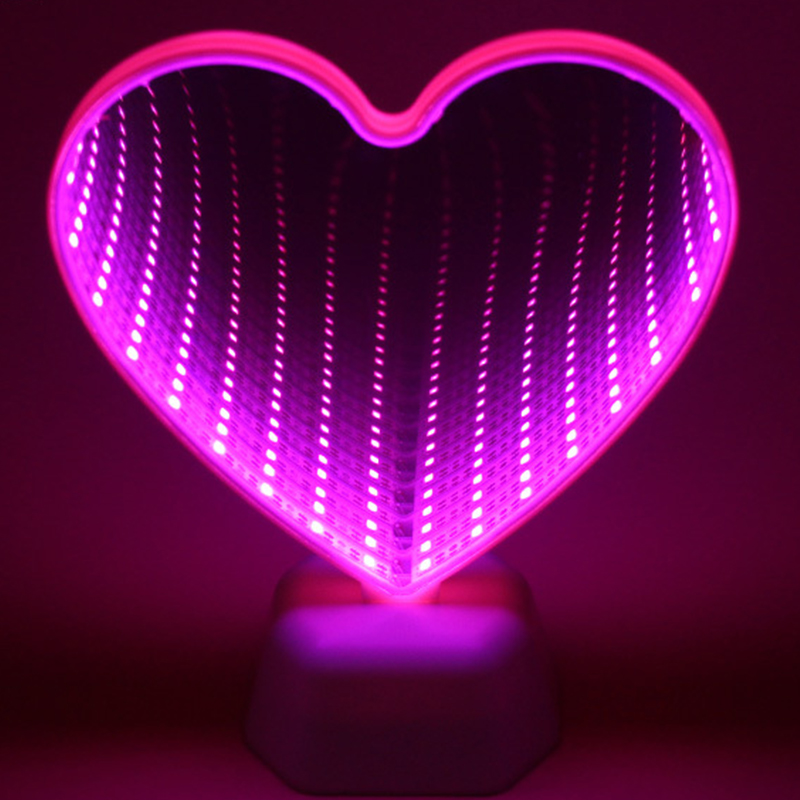 Magic Mirror LED Tunnel Table Lights Flamingo Star Double Face Tunnel Light House Festival Valentine Decoration LED Light