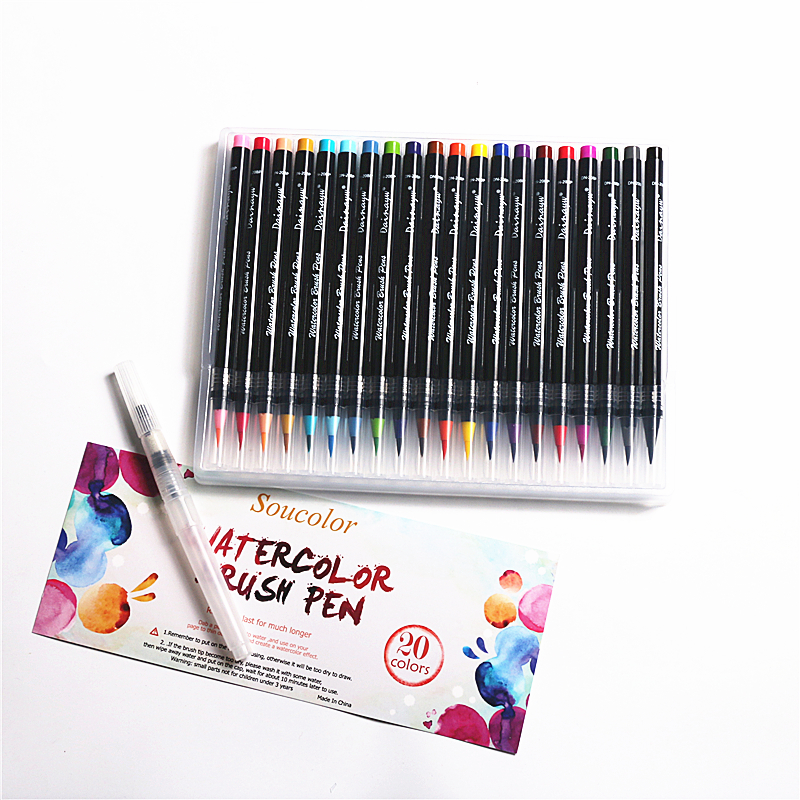 20 Colors Premium Painting Soft Brush Pens Watercolor Art Markers for Sketch Drawing Calligraphy Manga Comic 20 colors premium painting soft brush pens watercolor art markers for sketch drawing calligraphy manga comic