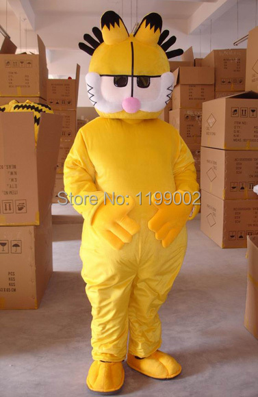 Hot sale lovely cute cartoon  yellow Garfield Mascot Costume yoptional giving mini fan Halloween Free shipping