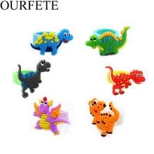 6Pcs/set Creative Cartoon Dinosaur Ring Party Favor Rings Happy Birthday Decoration Kids Boy Gifts Pendant theme