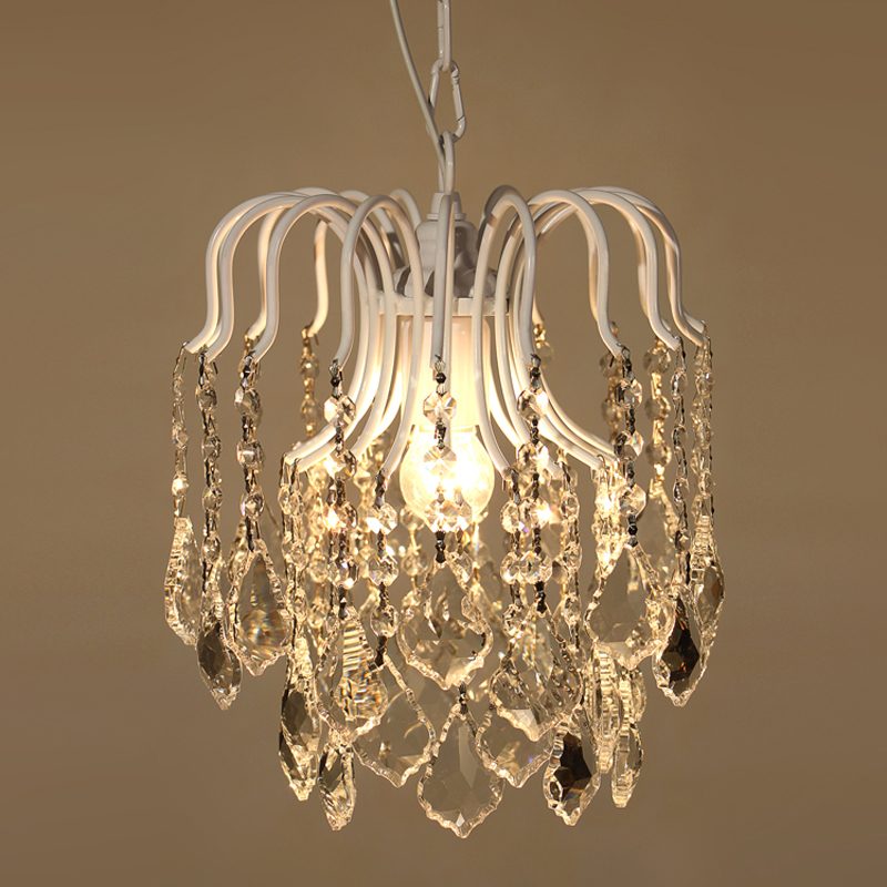Nordic Retro Luxury Crystal Pendant Lamp E27 Bulb Creative Single-head  Hanging Light Fixture For Hallway Porch Dining Room P499 3 lights floral crystal light fixture crystal pendant hanging suspension light mcp0520 for dining room aisle hallway porch