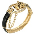 BELLA Fashion Gold Plated Black Leopard Bracelets & Bangles Austrian Crystal Animal Bracelets Cuff  For Men & Women Gift Party