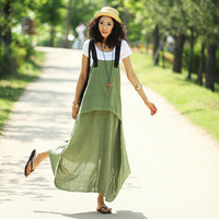 Linen Dress Ultra Long Suspenders One Piece Dress Spaghetti Strap Dress