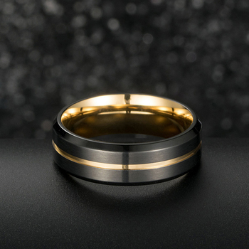 Titanium Black Brushed Effect Ring With Gold Centre Groove & Lining 3