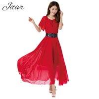 Chiffon Dress 2017 New Summer Women S Dress Bohemian Dress Solid Causal Maix Dress O Neck