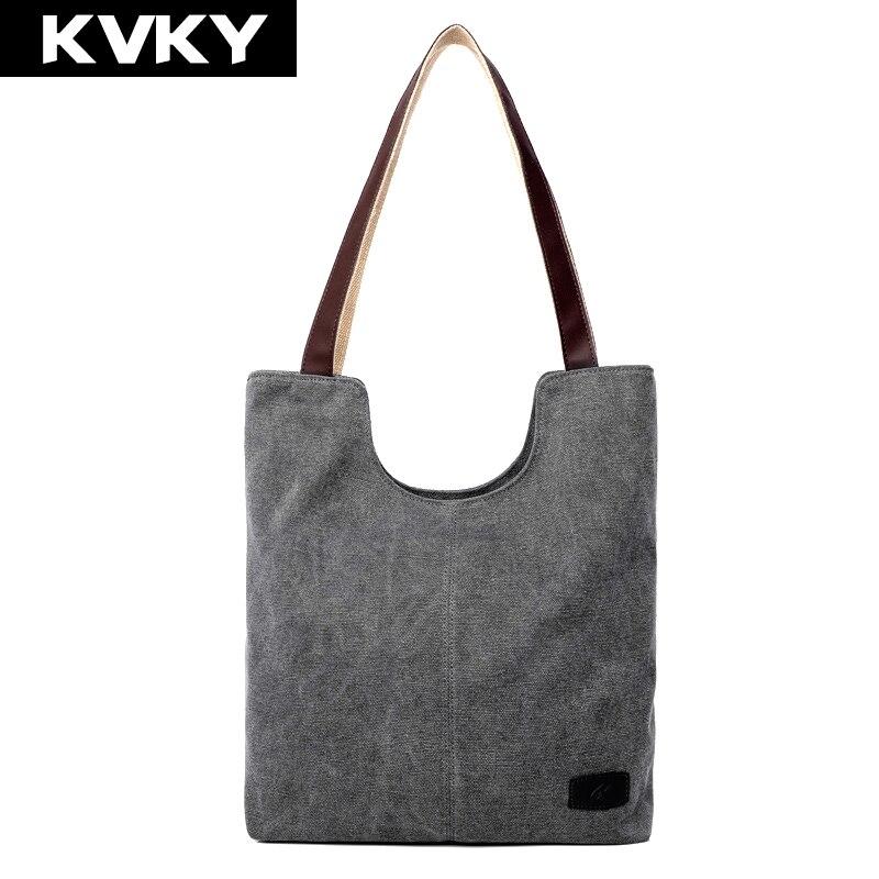 Kvky 2017 nuevo bolso femenino de las mujeres grandes espesar casual canvas tote