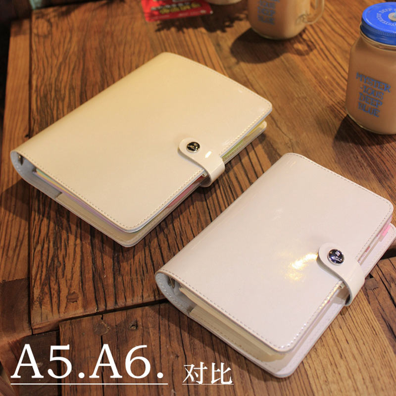 Image 4 - 2019 Yiwi Korea A5 A6 Genuine Leather Solid Color Loose Leaf Planner Dairy Binder Notebook-in Notebooks from Office & School Supplies