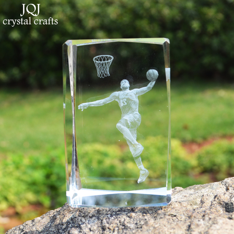 JQJ 3D Crystal Glass Cube LeBron James Statue Figurines Miniatures Craft NBA Sports Star Figurine Souvenirs Home Desk Ornaments