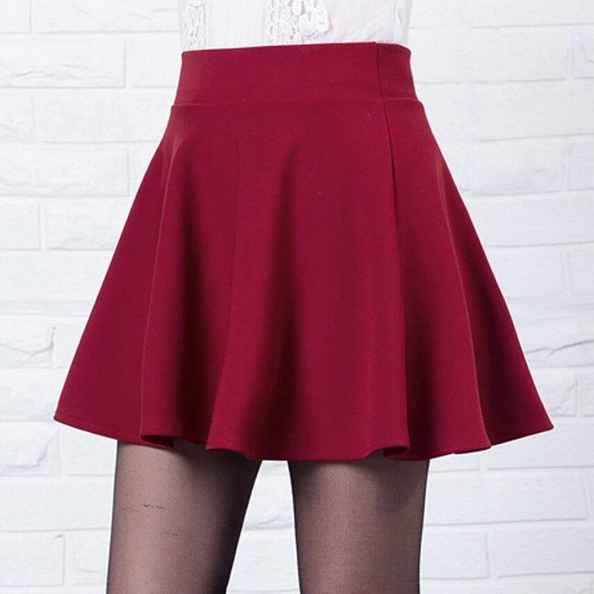 6144b834c Mini Falda corta de algodón Casual plisada de Skater lisa de cintura alta  elástica para mujer Sexy 2019 Falda plisada roja de moda
