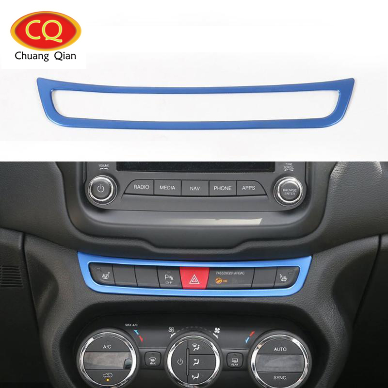 Chuang Qian 1Pcs Aluminium Emergency Light Button Frame Cover Trim for Jeep Renegade 2015-2016 Blue Car Sticker