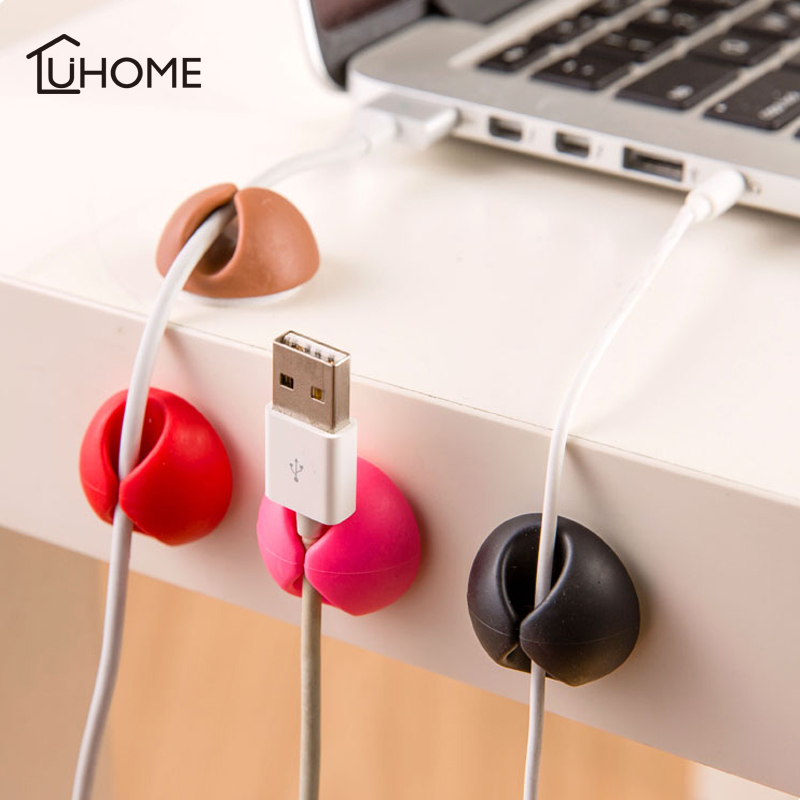 6pcs Desk Set Wire Clip Electrical Wire Fitted Hooks&Rails Data Cable Glands Winder Organizer Tie Mounts Home Office Storage
