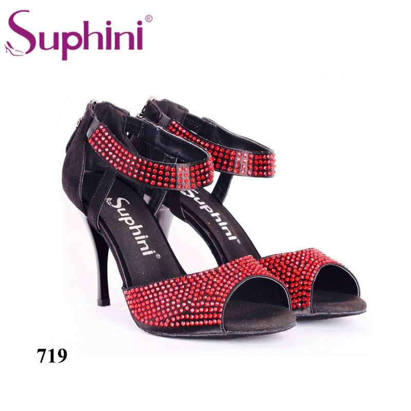 Free Shipping Comfortable Red Rhinestone Suphini Professional Tango Dance Shoes