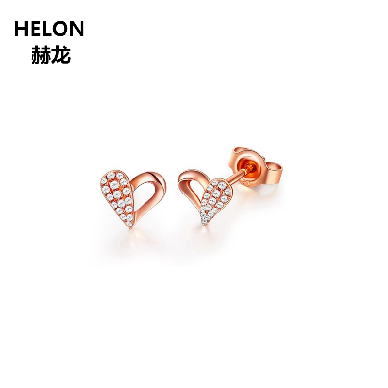 Solid 14k Rose Gold Women Stud Earrings AAA Cubic Zirconia CZ Engagement Wedding Earrings Fine Jewelry купить недорого в Москве