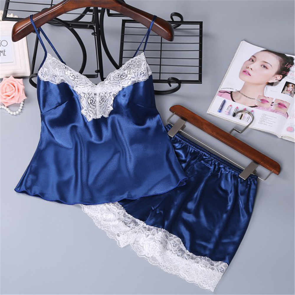 6d99ae883a0a Detail Feedback Questions about Sexy Lingerie Women Sleepwear Sleeveless  Strap Nightwear Lace Trim Satin Cami Top Sets Underwear New Style  NightGowns ...