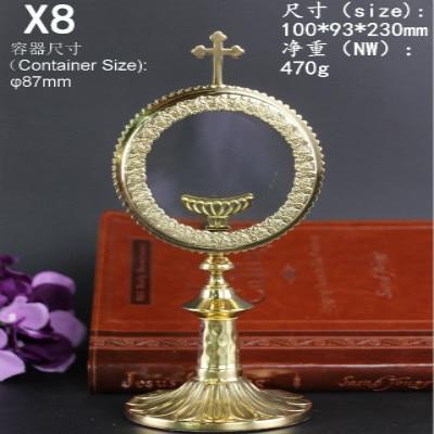 Reliquaire de cuivre sainte boîte catholique élégant verre stockage cadeau Ostensorium monstruance souvenir jésus croix crucifix lune