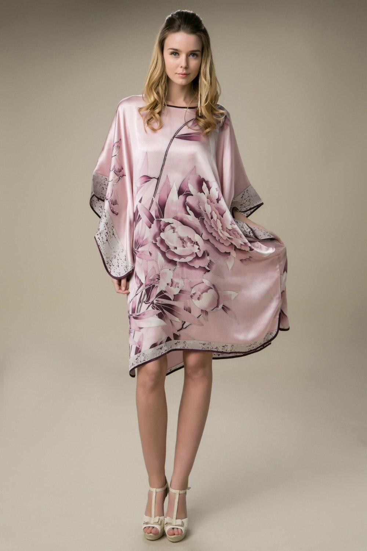 À Naturelle Robe Motif Robes Satin Taille De Soie Rose Pivoine Peint Gratuite Femmes Libre La Livraison 100 Main qEzYwFS