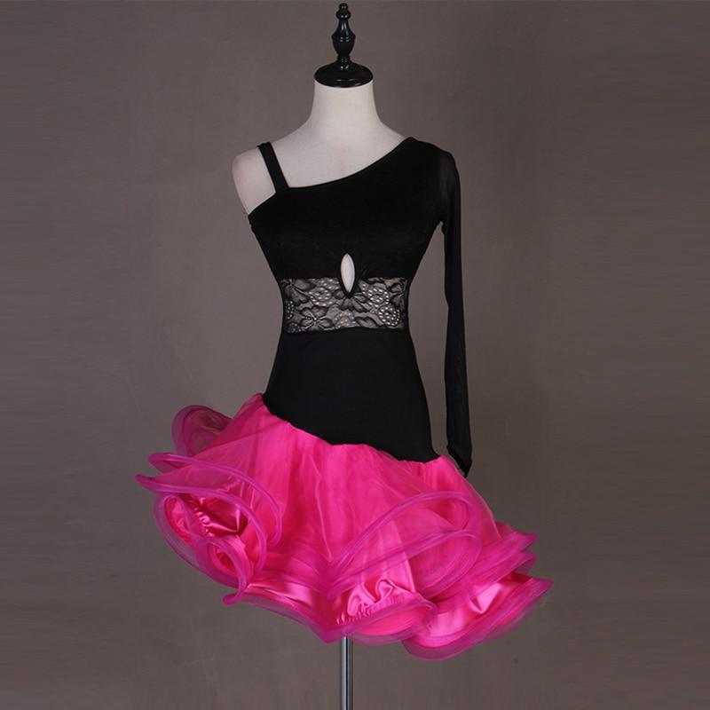 Nouveau femmes jupes latines salsa tango Cha cha strass robe de concours de salle de bal à volants Style soirée soirée robe de danse
