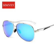 Simvey Fashion Classic Aviation Sunglasses Men Polarized Fishing Glasses Oversized Aluminum Driving Sun Glasses UV400
