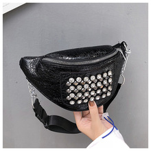 QIUYIN Chest Bum Purse Travel Rivets Punk Stud Tote Waist Pack Brand New Women Waist Bag Fanny Pack Shoulder punk style women s shoulder bag with rivets and union jack design
