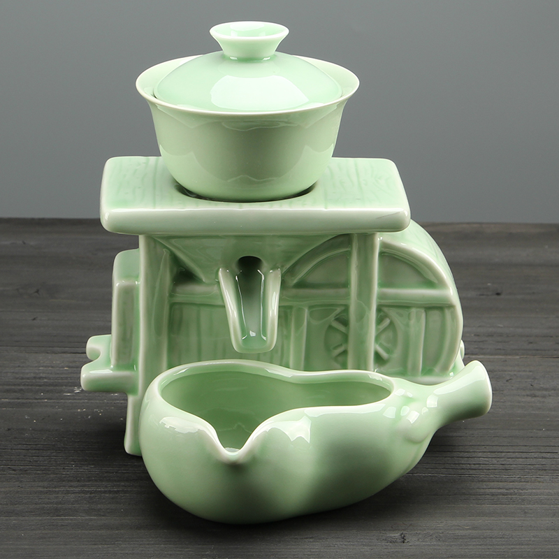 Celadon Exquisite Ceramic China Bouns Teapot Teaset Infusers Strainers Kung Fu Teaset Tureen Teacup Automatic Teaware Nice Gifts