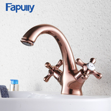 Fapully Mixer Tap Bathroom Basin Faucet Rose Gold Hot and Cold Sink Faucets Dual Handle And Water 596-11R