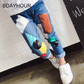 Color Geometric Splicing Light Elastic Waist Girl Skinny Jeans2017Summer New Child Clothes Denim Cotton Patchwork Mid Girl Jeans