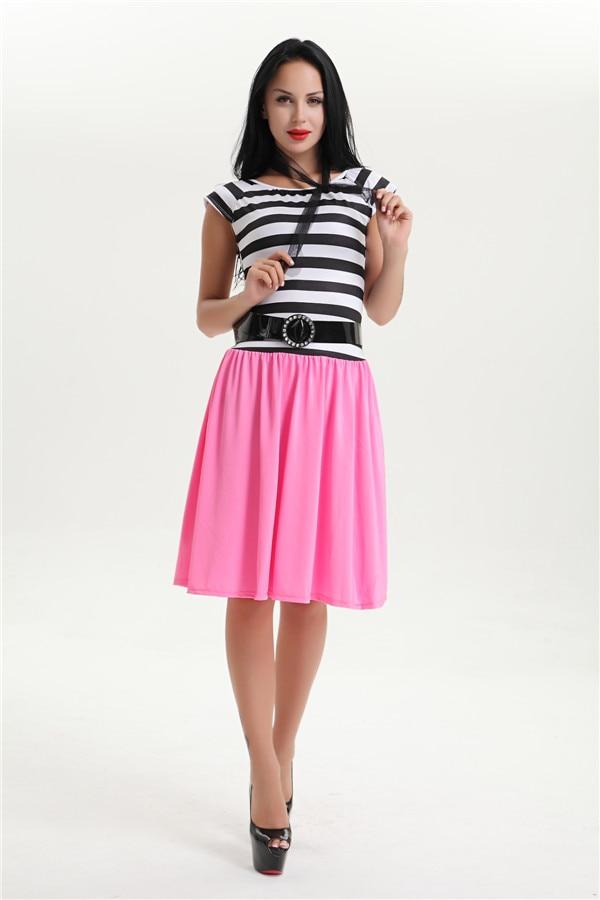 c2288cdc9ac2 Free shipping womens plus size stripe 50s grease rock n roll fancy dress  costume S-