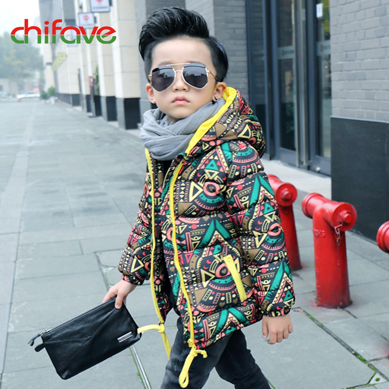 chifave Winter Warm Kids Boys Jacket Cotton Baby Boys Coat Hooded Outwear Children Clothing Print Toddler Boys Jackets Fashion 2016 winter dinosaur monster jacket fashion girls boys cotton hooded coat children s jacket warm outwear kids casual wear 16a12