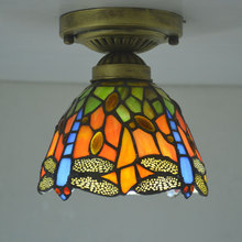 Tiffany Small Ceiling Light Stained Glass Lampshade Country Dragonfly Living Room Bedroom Fixture E27 110-240V mcmullen a small country living goes on
