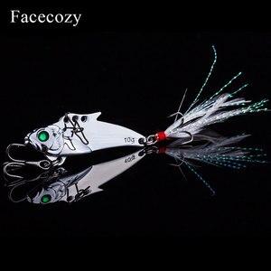 Image 2 - Facecozy メタル Vib ルアー餌 45 ミリメートル 7.3/9.3 グラム海低音 1 個人工餌シンク釣りルアー振動 8 # フック 3D 目