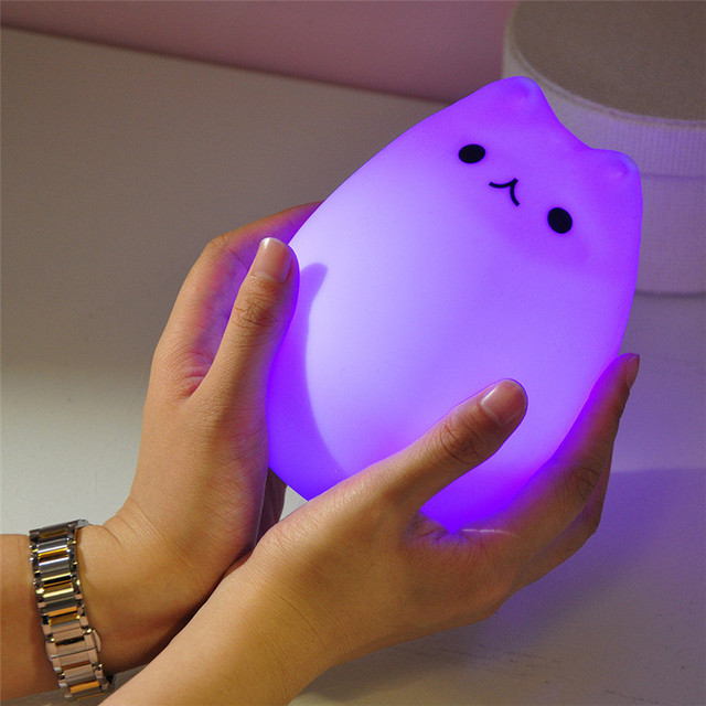Cute Silicone Cat Creative USB Recharge Lamp