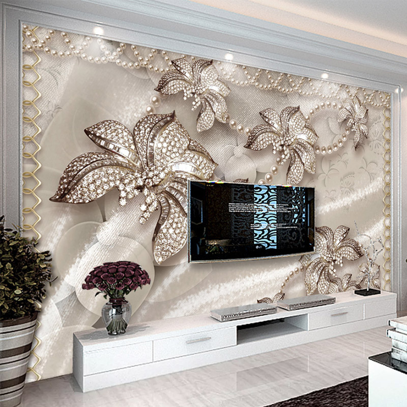 Photo Wallpaper 3D Stereo Luxury Jewelry Flower Living Room TV Background Wall Murals Eco-Friendly Waterproof Papel De Parede 3D