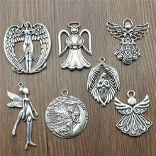 3pcs/lot Charms Pendant Angel Antique Silver Color Angel Charms Pendant Jewelry Fairy Angel Charms For Jewelry Making(China)