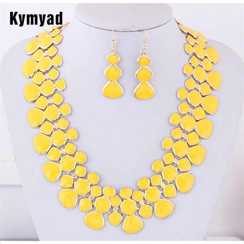 Kymyad Màu Vàng Trang Sức Bộ Nữ BIJOUX Femme Vòng Cổ Bộ Mới Bầu Cổ & Mặt Dây Chuyền Tuyên Bố Bộ Trang Sức