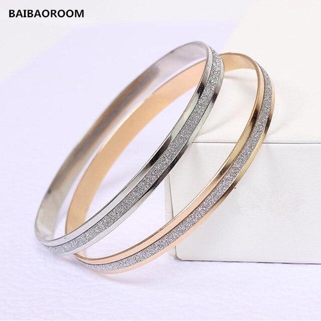 Fashion Double circle matte rose gold bracelets Bangles