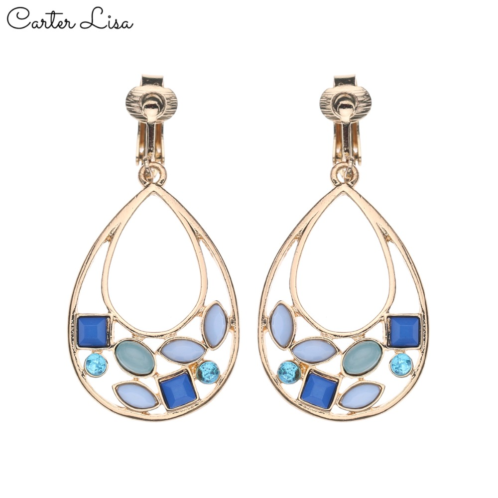 CARTER LISA 2019 Women Without Piercing Fashion Clip Earrings Red&Blue Rhinestone Earrings No Pierced Ear Clips Earring Jewelry