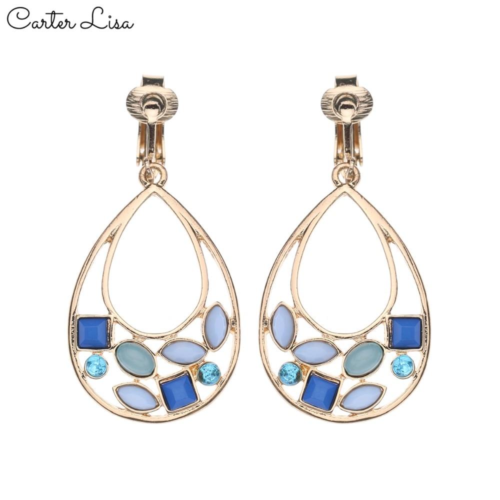 CARTER LISA 2019 Women Without Piercing Fashion Clip Earrings Red&Blue Rhinestone Earrings No Pierced Ear Clips Earring Jewelry