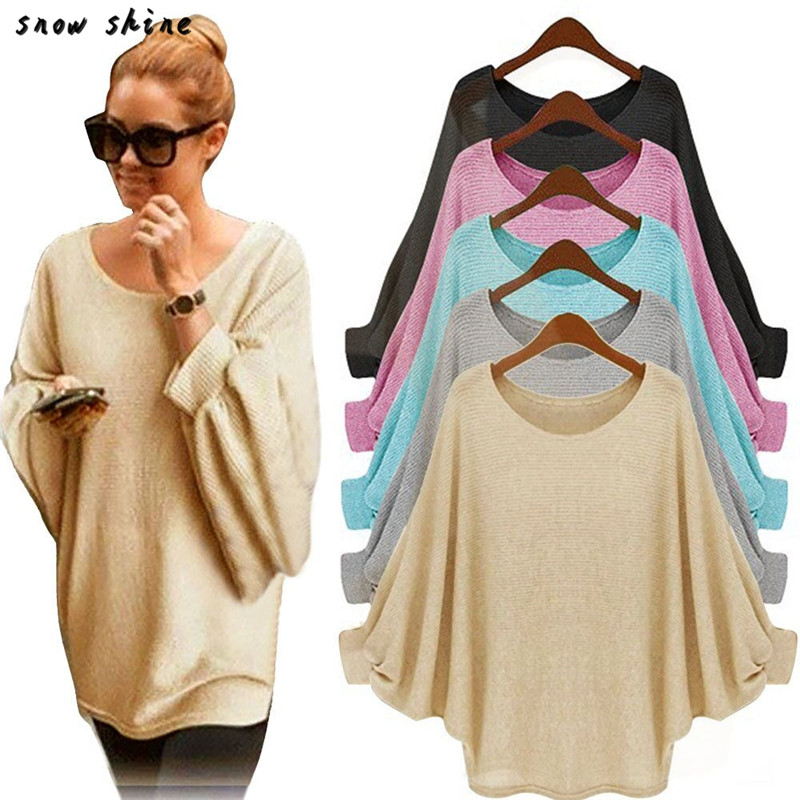 snowshine YLI Women Oversized Batwing Knitted Pullover Loose Sweater free shipping
