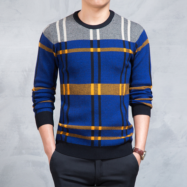 Sweater Men New Arrival Casual Pullover Men Autumn O-Neck Quality Brand Striped Plaid Knitted Sweater Plus Size Pull Homme