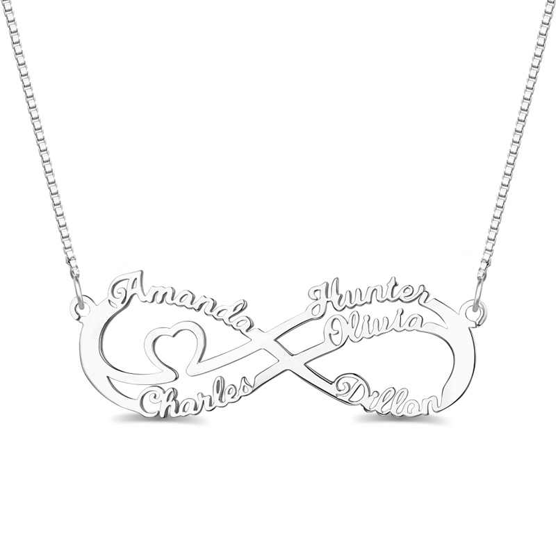 AILIN Personalized Women Heart Infinity Necklace with 5 Names Lady Name Infinity Jewelry For MOM 925 Sterling Silver Necklace