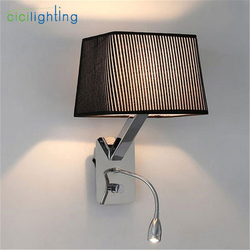 modern LED hose wall lamp aisle hall Read hotel rooms knob switch on/off sconces black white fabric flannel lampshade shade luz american iron wall lamp white black fabric lampshade wall sconces fixture stairway living room hallway bedroom wall light wl281