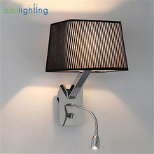 modern LED hose wall lamp aisle hall Read hotel rooms knob switch on/off sconces black white fabric flannel lampshade shade luz