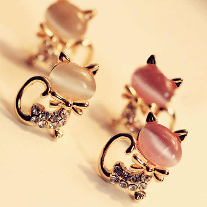 Korean Fashion Cute Cat Stone Crystal Rhinestone Women Stud Earrings Wedding  Pretty Girl