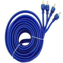 Двойной экранированный Чистый медный автомобильный стерео аудио кабель синий 5 метров усилитель сабвуфера соединение высокой плотности экранирование