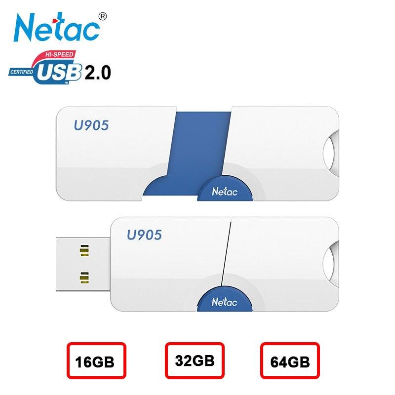 Netac USB Flash Drive gb 32 16 gb U905 64 gb Pendrive Memory Stick para Computador Desktop Disco Flash de Plástico na Movimentação Da Chave Caneta 64 GB