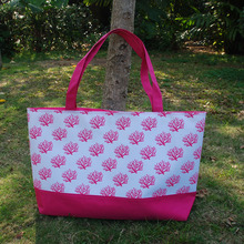 Fast Shipping Pink Coral Tote Summer Beach Tote Wholesale Large Navy Coral Design Tote Bags With Many Colors DOMIL-1010263