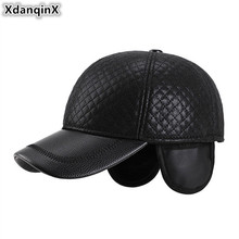 XdanqinX Winter Mens Earmuffs Hat Thick Warm PU Leather Baseball Caps For Men Adjustable Size Male Bone Snapback Cap