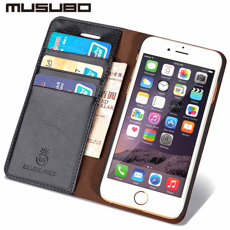 MUSUBO Genuine Leather Luxury Mobile Phone Case for 6S iPhone 5 5S SE Wallet Cover Cases iphone 7 Plus With Card Slot Flip Capa